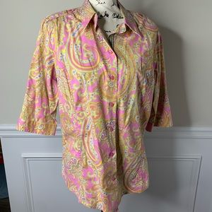 Robert Graham paisley tab sleeves button front top
